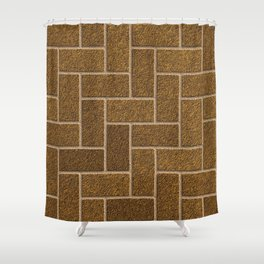 Gold Flaked Bricks Shower Curtain