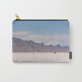 Bicycle Riding on the Boneville Salt Flats in Utah, Travel Photography Carry-All Pouch