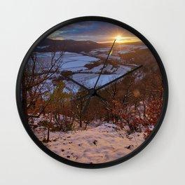 Winter sunset Wall Clock