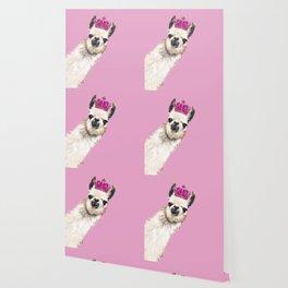 Llama Queen in Pink Wallpaper