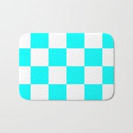 Large Checkered - White and Aqua Cyan Bath Mat