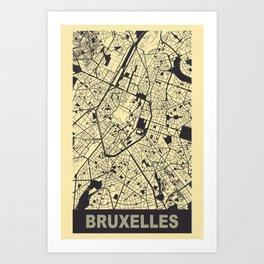 Bruxelles, Belgique, city map, Peach-Yellow Art Print
