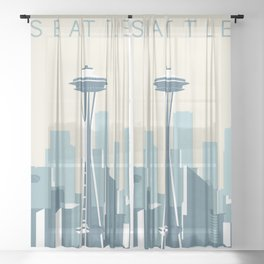 Seattle Cityscape Sheer Curtain