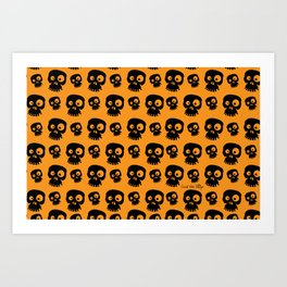 Skulls - orange/black Art Print