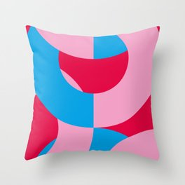 Blue and Pink circled chains, in a red Backgrounded Prison. Throw Pillow