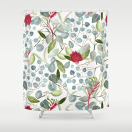 Eucalyptus Kangaroo paw watercolor floral design Shower Curtain