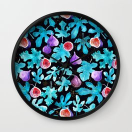 Midnight Sweetness. Dark Botanical Figs and Leaves Wall Clock