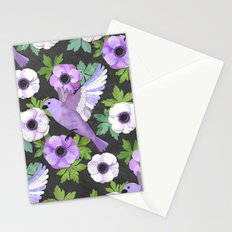 Purple Paper Anemone Collage Stationery Cards