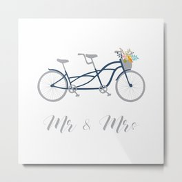 MR & Mrs Tandem Bike Navy Blue Metal Print