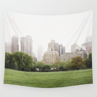central park Wall Tapestries featuring CENTRAL PARK by alexandragibbs