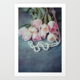 Tulips and Pearls Art Print