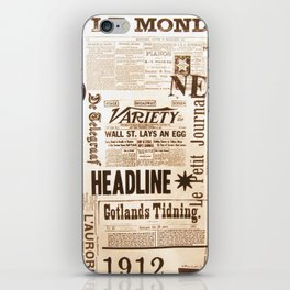 Vintage Newspaper Ads Black and White Typography iPhone Skin