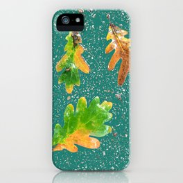 Oak leaves on teal green terrazzo background iPhone Case