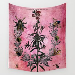 Vintage Bees with Toadflax Botanical illustration collage Wall Tapestry