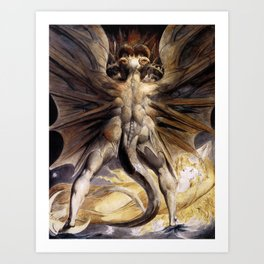 The Red Dragon and the Woman Clothed in Sun by William Blake Art Print