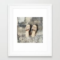 shoes Framed Art Prints featuring shoes by woman