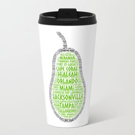 Pear Fruit illustrated with cities of Florida State Travel Mug