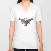 guns V-neck T-shirts featuring Love Guns by AnnaCas