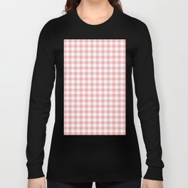 Lush Blush Pink and White Gingham Check Long Sleeve T-shirt