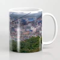 seoul Mugs featuring Descending into Seoul by Anthony M. Davis