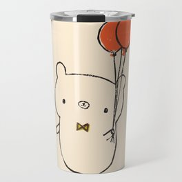 Bear Attends a Party in Orange Travel Mug
