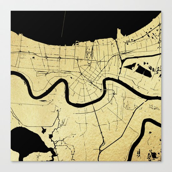 New Orleans Black and Gold Map Canvas Print