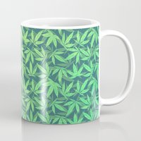 cannabis Mugs featuring  Cannabis / Hemp / 420 / Marijuana  - Pattern by badbugs_art