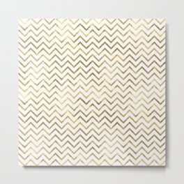 Gold Zig Zag Pattern Metal Print
