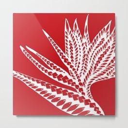 Red Polynesian Geometric Floral Chic Tribal Tattoo Metal Print