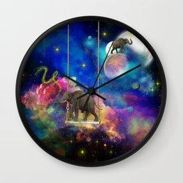 Space elephants Wall Clock