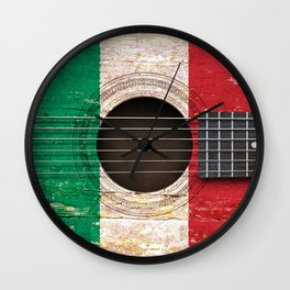 Old Vintage Acoustic Guitar with Italian Flag Wall Clock