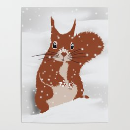 Red squirrel in the winter snow with white snowflakes cute home decor nursery drawing Poster