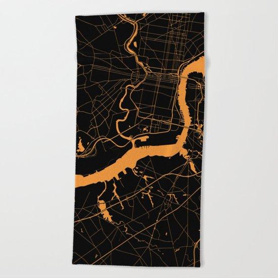 Philadelphia - The Orange and the Black Beach Towel