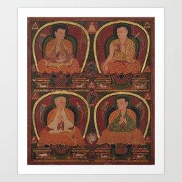 Four Seated Masters 15th Century Classical Tibetan Buddhist Art Art Print