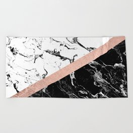 Modern black white marble color block rose gold Beach Towel