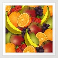 fruit Art Prints featuring Fruit by AdamSteve