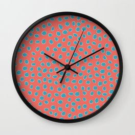 Living Coral and Turquoise, Teal Polka Dots Wall Clock
