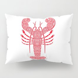Tribal Maine Lobster on White Pillow Sham