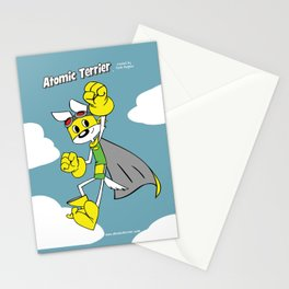 Atomic Terrier flying print Stationery Cards