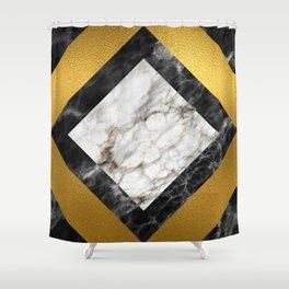Gold foil white black marble #5 Shower Curtain