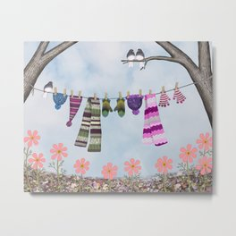 winter's over clothesline with juncos Metal Print