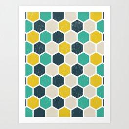 Hexagonal Geometric Art Print