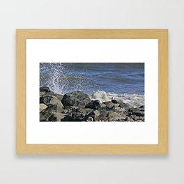 Seagull Watching The Waves Break Framed Art Print