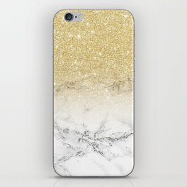 Modern faux gold glitter white marble color block iPhone Skin
