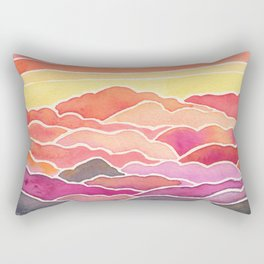 Above the Clouds Watercolor Painting Rectangular Pillow