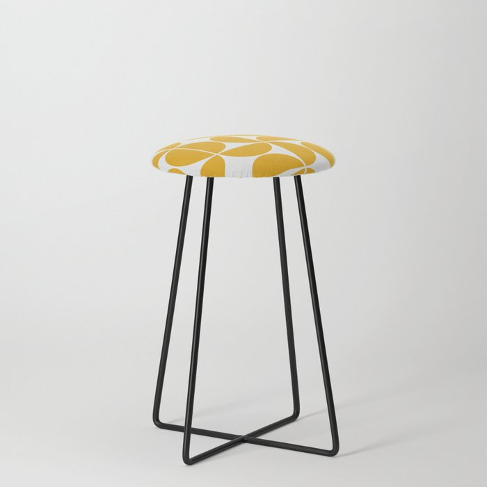 Mid Century Modern Geometric 04 Yellow Counter Stool