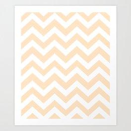 Bisque - pink  color - Zigzag Chevron Pattern Art Print