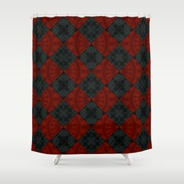 Red black patchwork Shower Curtain