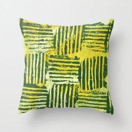 Yellow green striped squares Throw Pillow