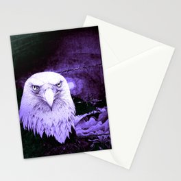 Art print: The Bald Eagle, the barbwire and the Blue flag Iris. Stationery Cards